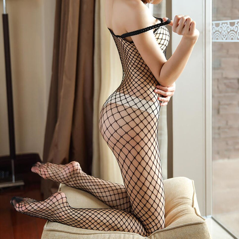 Fishnet Bodysuit Costumes Teddy Lingerie Mesh Open-Crotch Erotic See-Through Sexy Hollow-Out