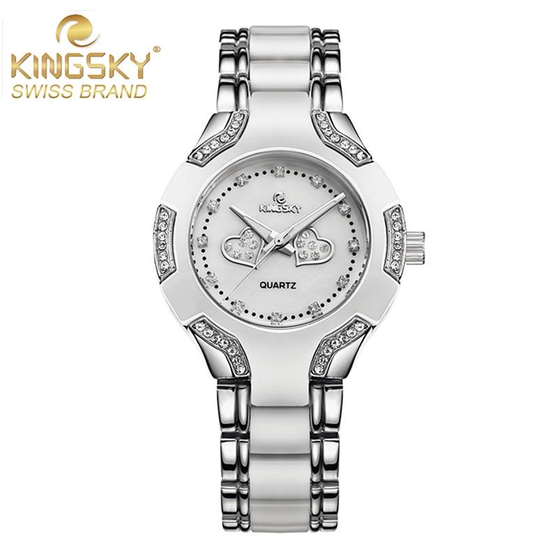 KINGSKY Famous Brand Women Dress Watches Silver Alloy Fashion Popular Female Quartz Wrist Watch Relogio Feminino