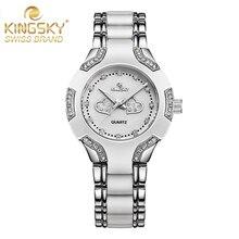 KINGSKY Famosa Marca Vestido de Las Mujeres Relojes de Moda de Aleación de Plata Populares de Mujer de Cuarzo Reloj de Pulsera Relogio Feminino Montre Femme