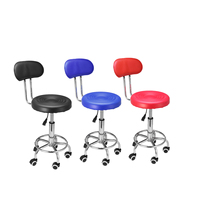 Modern Lifting Chair 360 degree Rotating Leather with back support Home Office high Chair Bar Chiar Stool Adjustable + rollers