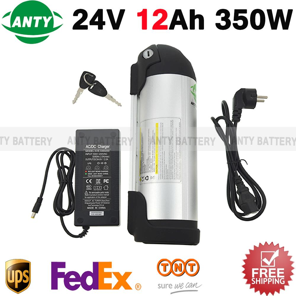 E Bike Battery 24v 12ah 350w Lithium Battery Pack 24v With 2a Charger ,15a Bms 24v Rechargeable Battery Free Tnt Shipping free customs taxes super power 1000w 48v li ion battery pack with 30a bms 48v 15ah lithium battery pack for panasonic cell