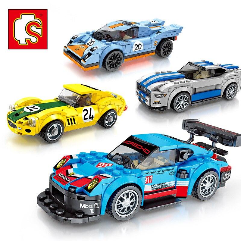 Crianças DIY Blocos de Montagem Brinquedos de Velocidade Série Pilotos Campeões Compatível Legoed Tijolos de Blocos De Construção De Corrida de Carro Crianças Presentes