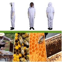 Professional Cotton Full Body Beekeeping Jumpsuit with Veil Hood Gloves Hat Clothing Bee Keeping Equipment Supplies Glove (XXL)
