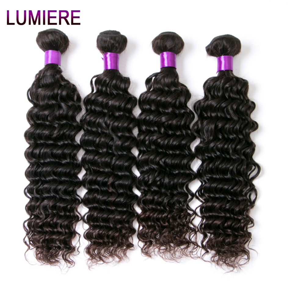 Lumiere Non Remy Human Hair Bundles Indian Deep Wave 4 Bundles Lot 100% Human Hair Extensions Natural Color 10-26 Inches