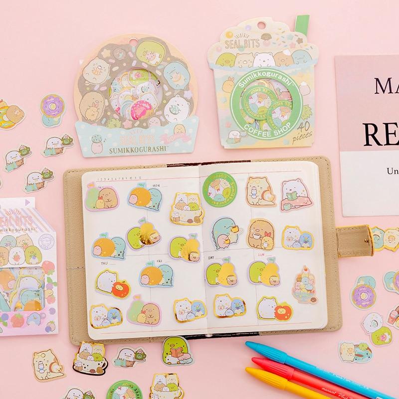 Cute Sumikko Gurashi Bullet Journal Decorative Stickers Bag Scrapbooking Stick Label Diary Stationery Album Japanese Stationery