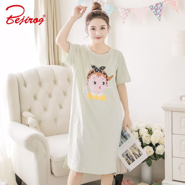 Bejirog women nightgowns sleep clothing cute lingerie female nighties short  sleeved sexy sleepshirt girl cotton pyjamas summer 707cf2491