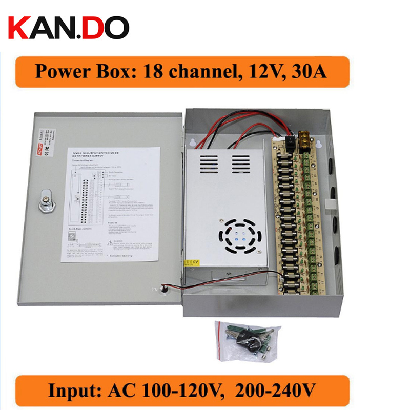 18 channels DC12V 30A CCTV Camera Power Box IR Illuminator Control for DVR CCTV Cameras switching Power Supply Box 18CH Port 30A mager ssr 120a dc ac single solid state relay quality goods mgr 1 d48120 dc control ac