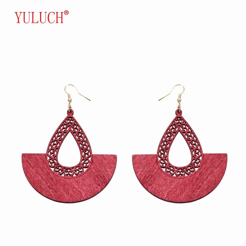 YULUCH 2018 Fashion woman African wooden personality drip screen small fan earrings party gifts