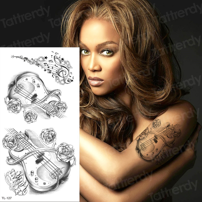 Temporary Tattoo Sticker Music Sketches Tattoo Designs Black Tatoo Fake Arm Legs Sexy Tattoo & Body Art Stickers Decal Fashion