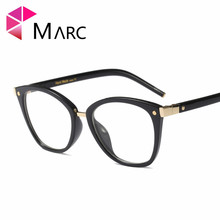 MARC WOMEN 2018NEW Optical fashion Plastic Black Plain glass spectacles Cat eye clear Glasses Frame floral Blue 97588