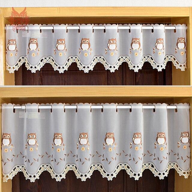 Gardinen anima цветочной вышивкой наполовину занавес эркер тюль для Кофе Кухня номера Декор cortina пастырской SP5220