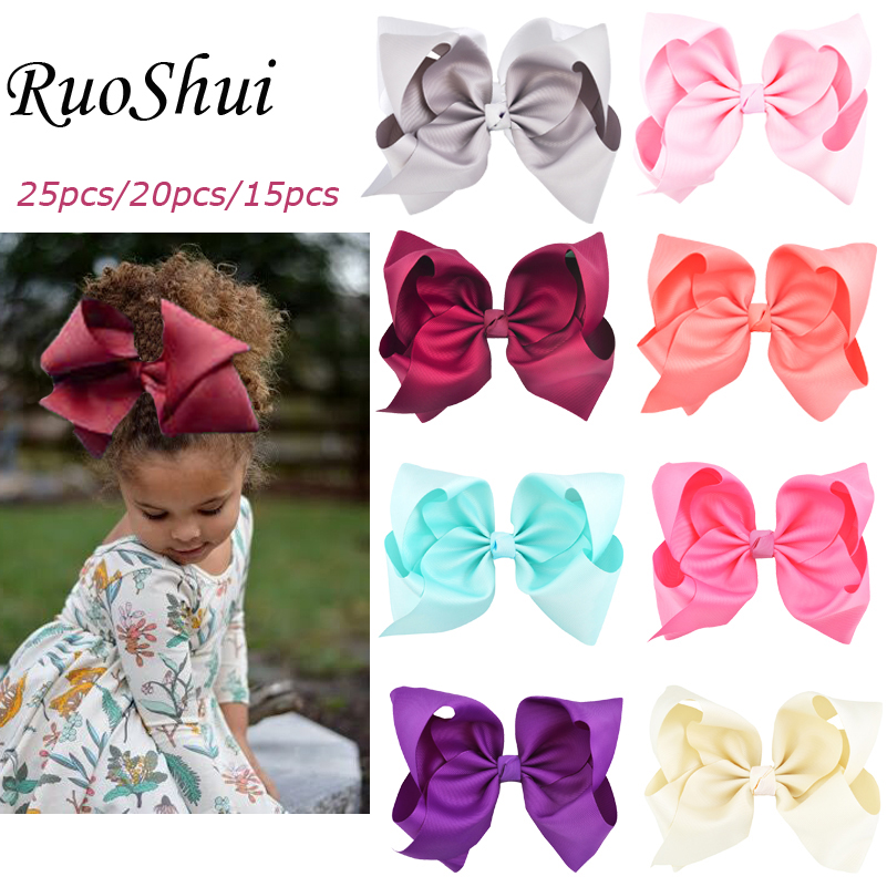 8 inch 25pcs/20pcs/15pcs Big Large Grosgrain Ribbon Hair Bow Alligator Clips Bowknot   Headwear   Children Girls Hair Accessories