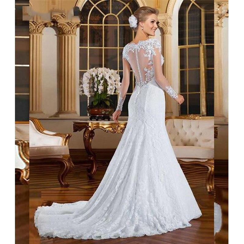 8e106d25ca9 Vestido De Noiva Cheap Long Sleeve Lace Mermaid Wedding Dress 2019 Sexy See  Through Back Wedding Gowns Robe De Mariage-in Wedding Dresses from Weddings  ...