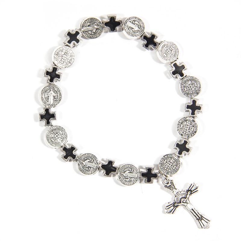 Buy Cheap Jesus Cross Bracelet Vintage Golden&silver Jesus Jewelry Rosary Centerpiece Sacred Mercy Saint Icons Religious Beaded Bracelet Warm And Windproof