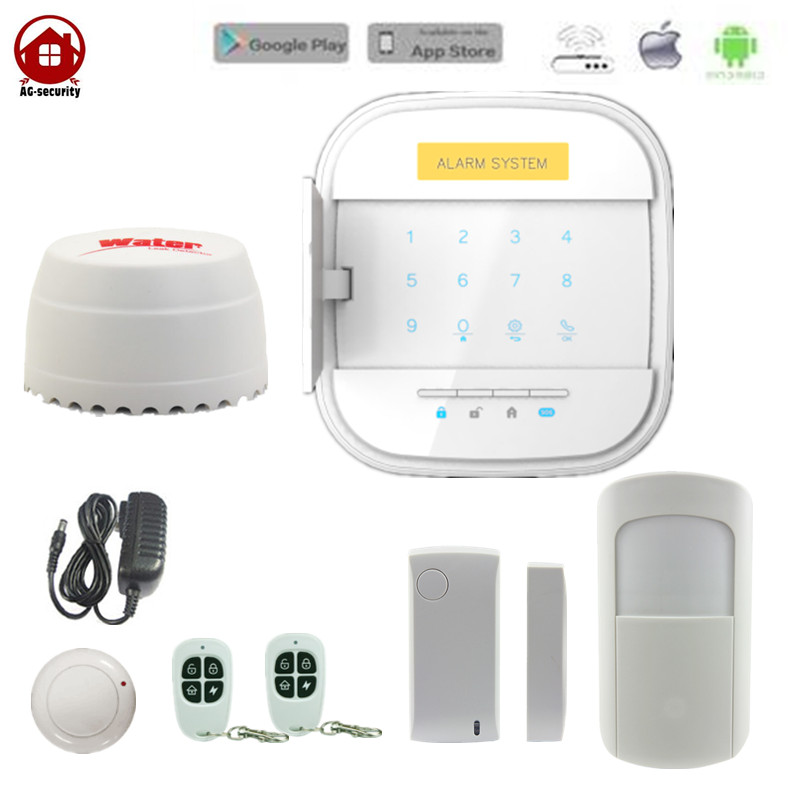 AG Security Wireless WiFi  GSM Home Security Alarm System 433mhz IOS Android APP Control with IP Camera Water Leak Detetcor wifi alarme maison wireless gsm home security alarm system ios android control with ip camera