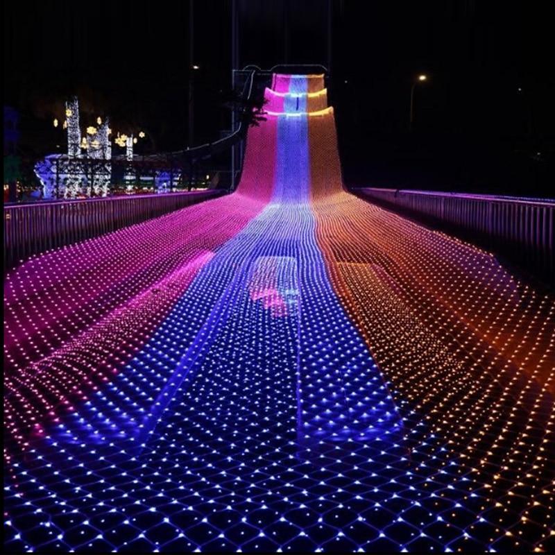 220 В 240 В огни строки 4 м x 6 м светодио дный сетка Фея мерцают флэш-лампы для дома и сада рождественское свадебное дерево вечерние гирлянды