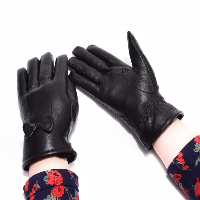 Kvinnors läderhandskar för vinter äkta pälsfoder Guantes Mujer - Kläder tillbehör - Foto 2