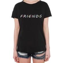 49d2a411cc010 الأصدقاء الطباعة الأبيض T قميص الصيف النساء قصيرة الأكمام الترفيه أعلى  المحملة عارضة السيدات الإناث قمم