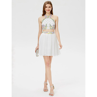 TS Couture A Line Jewel Neck Short Mini Chiffon Cocktail Party Dress With Beading Crystal Detailing