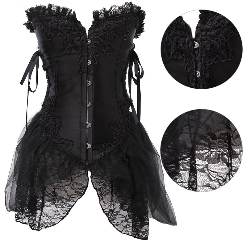 Hot Sale Sexy Steampunk   Corsets   and   Bustiers   Top Lace Up   Corsets   with Skirt Sexy Gothic Overbust   Corset   Dress plus size New