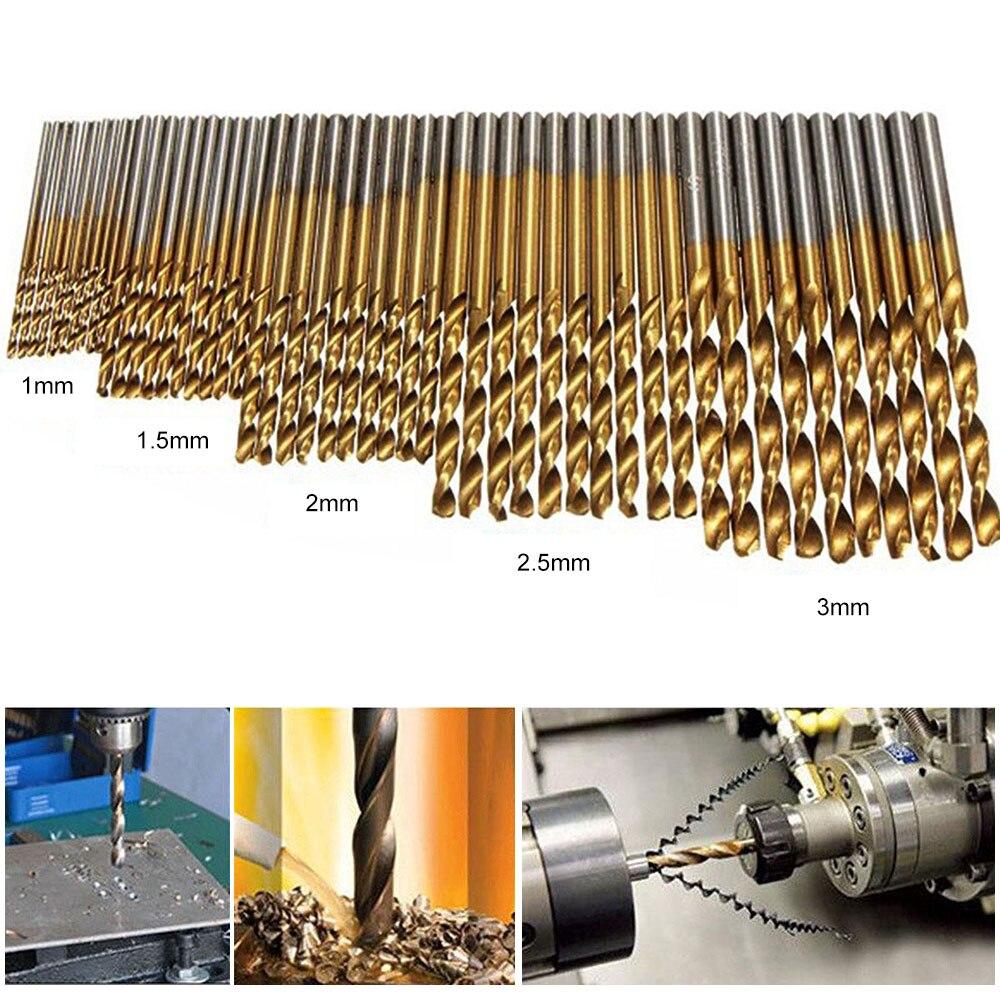 HSS Drill Woodworking Hand Tools Drill Bit Set Twist Drill 1.0/1.5/2.0/2.5/3.0mm Titanium Coated  50pcs/set
