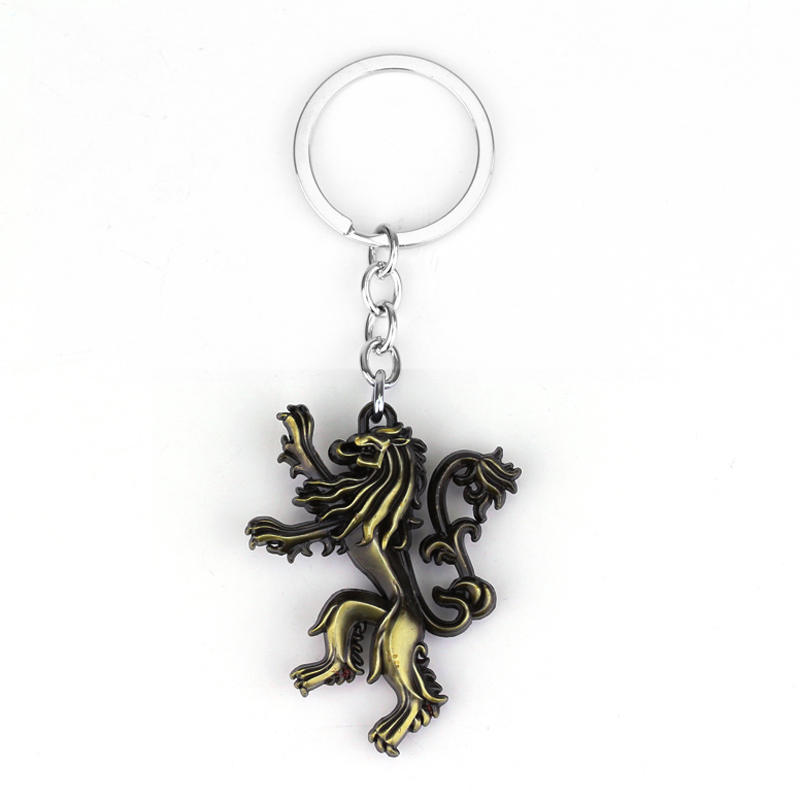 Vinage Cute Lion Shape Keyring Hot Sell Game of Throne Keychains Family Crest Casterly Rock House Lannister Key Holder