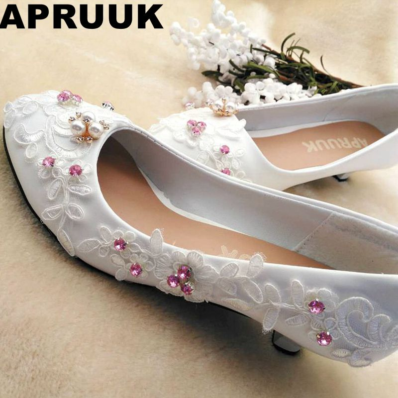 Pink Low Heel Wedding Shoes: White Lace Pink Crystal Rhinestones Wedding Shoes Bride
