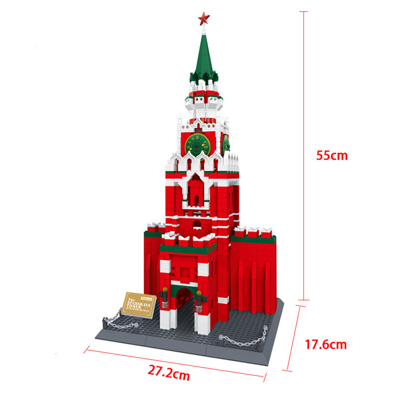 Hot 1048pcs Building Blocks Children Lepins Education Toy Baby Gifts The Spasskaya Tower of Moscow KREMLIN Model Toys eighteen disciples of the buddha children puzzle toy building blocks