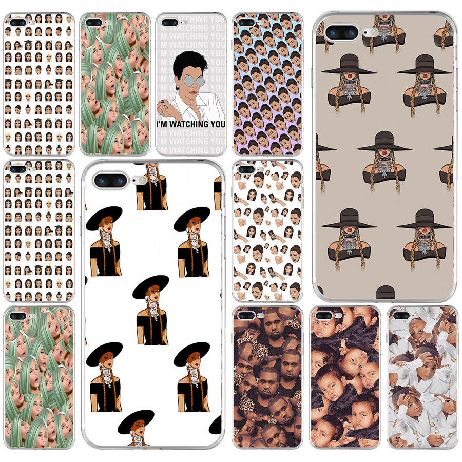 253AQ kim kardashian Kylie Jenner Kimoji emojis Soft TPU Silicone Cover Case For Apple iPhone  6 6s 7 8 plus Case