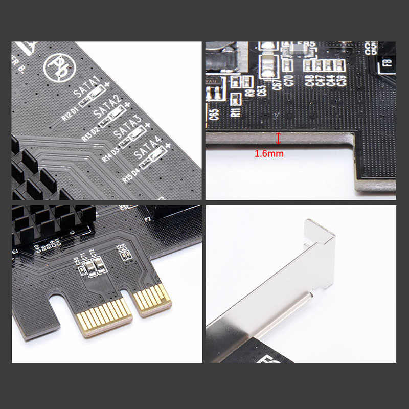 Pci-e 拡張カード、 4 ポート Sata 3.0 Raid 拡張カード 6 グラム Sata 3.0 Pci-e 4 ポートアダプタエクステンダーライザーカード hdd 用 Ssd