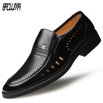 2019 Brand High Quality Leather Spring Summer Breathable Casual Shoes Men Wedding Black Lace-up Shoes Flat Business British