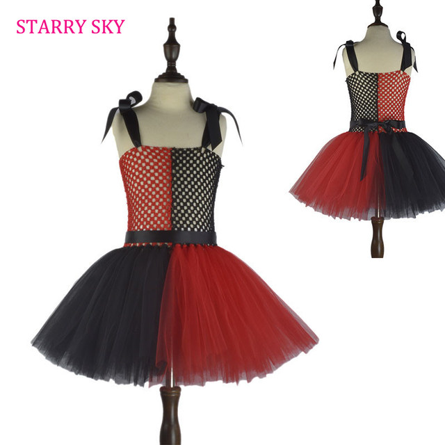 Halloween Kids Clown Dresses Inspired Red Black Girls Tutu Dress Party Show Pattern Costume Holiday Clothing Costumes