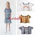 2017 kikikids бобо выбирает белый синий вырезом мальчики девочки футболка футболка топ дети детская одежда roupas infantis миньоны menino