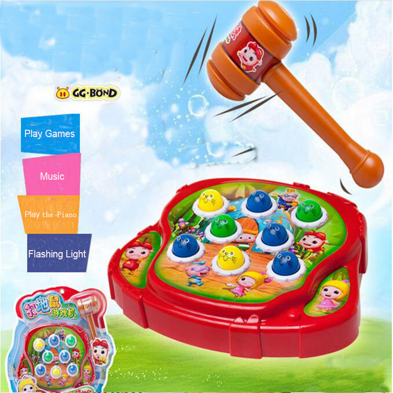 Musical Handbells Percussion Playing Hamster Piano Educational Toy Musical Instruments Children Kids Light Flashing Brain Teaser