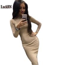 2018 Новый Для женщин Демисезонный платье модные Повседневное трикотажные платья с длинным рукавом черный тонкий халат Сексуальная карандаш миди clotjes Vestido