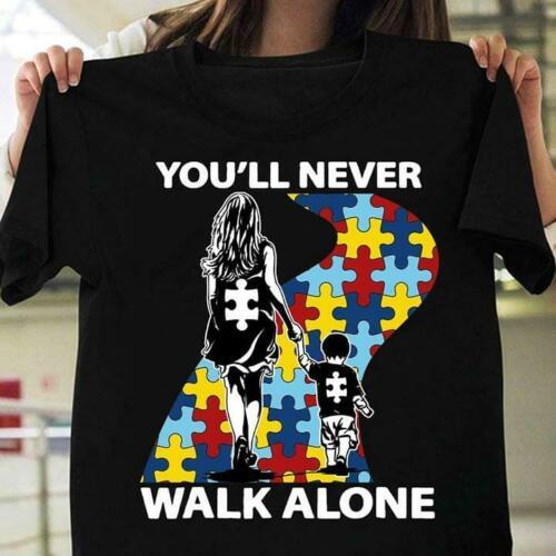 2019 New Arrival Men   T     Shirt   New Autism Awareness Mom & Son You'll Never Walk Alone Black   T     Shirt