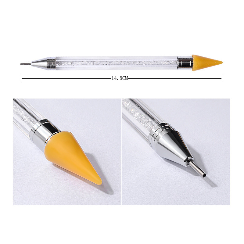 Dual-ended Nail Dotting Pen Crystal Beads Handle Rhinestone Studs Picker Wax Pencil Manicure Nail Art Tool #4