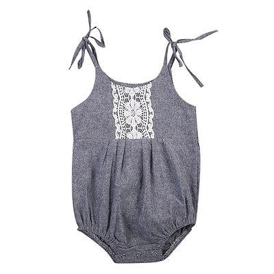 Newborn Baby Girls Sequins Lace Jumpsuit Floral Rompers Outfits Sunsuit
