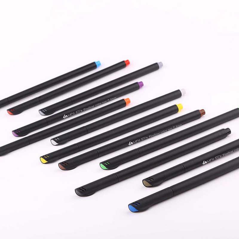 12 개/대 마커 스케치 0.4mm 컬러 전문 펠트 팁 파인 후크 라인 펜 드로잉 아트 페인팅 섬유 마커 펜