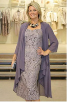 Plus Size Mother of the Bride Dresses 2019 Two Pieces Lace Mother Wedding Party Dress with Jacket vestido de madrinha Pageant