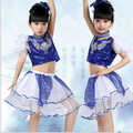 Children's Sequins Dance Costumes Fashion Blue 2 Pcs Top + Skirt Jazz Dance Modern Dance Hip Hop Street Stage Costumes