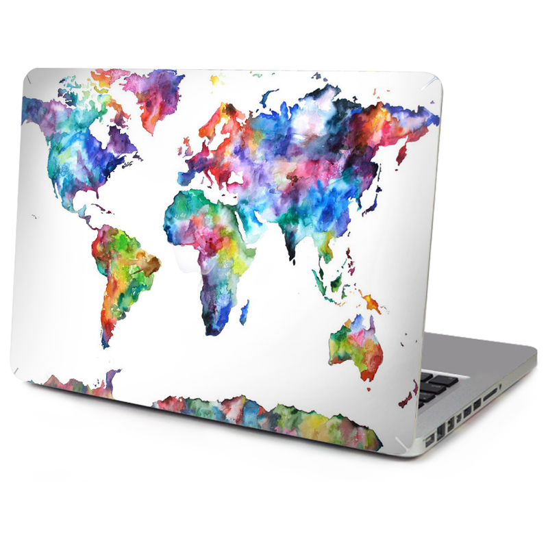 YCSTICKER -6 Patterns Laptop Top Vinyl Decal for Macbook Front Full World Map Skin For Mac Air Retina Pro 11 12 13 15 Sticker