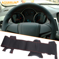 For Chevrolet Cruze Sedan Hatchback Sew On Genuine Leather Car Steering Wheel Cover For Cruze Accessories