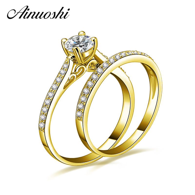 AINUOSHI 10k Solid Yellow Gold Wedding Ring Set Round Cut Sona Simulated Diamond Anillos Fine Jewelry Women Engagement Ring Sets ainuoshi 10k solid yellow gold wedding ring sona simulated diamond jewelry lady anillos new flower shape women engagement rings
