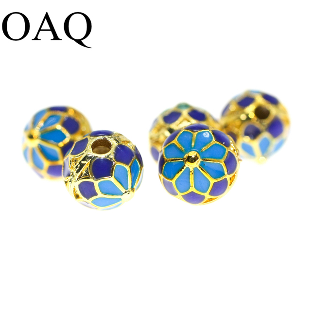 Cloisonne Bead Necklace Metal Beads For Jewelry Making 5pcs Flower Patter Craft Making Spacer Beads 8mm Pure Brass