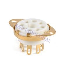 5pcs 8Pin Ceramic Gold Plate Tube Socket Octal Vacuum Chassis Mount EL34 6550 KT88 KT66 6SN7 5U4G 6CA7 6L6