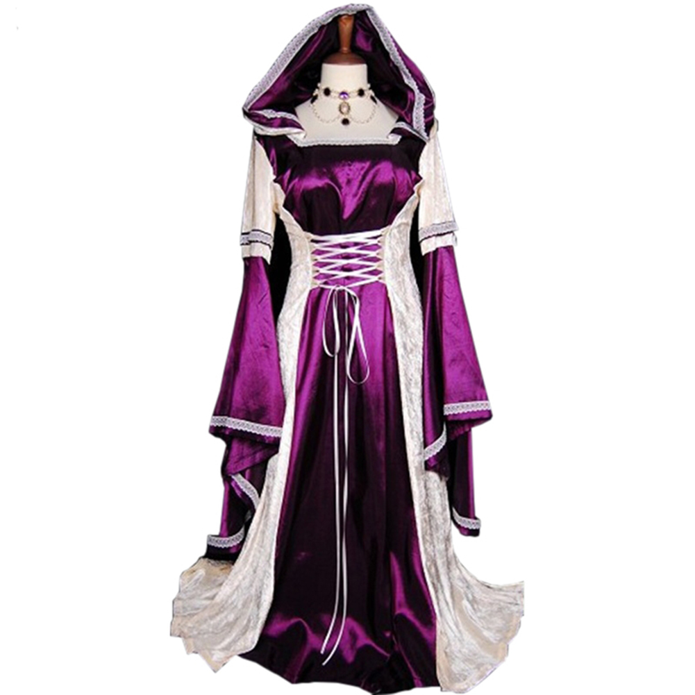 Cosplay Long Skirt Gown Rode Evening Dress Medieval Women's Dreee Costume