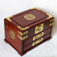 Large red mahogany jewelry box with large wedding jewelry cabinet drawer gift box mirror copper lock