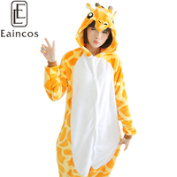 New Promotion High Quality Flannel Onesie Unisex Adult Pajamas Giraffe Cosplay Costume Animal Suits Free Shipping