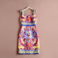Retro Royal Print Dresses 2018 Fashion Casual Vintage Sleeveless Slim Summer Women New Dress